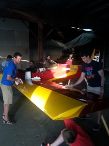 Ryan and Drew cleaning the wings.