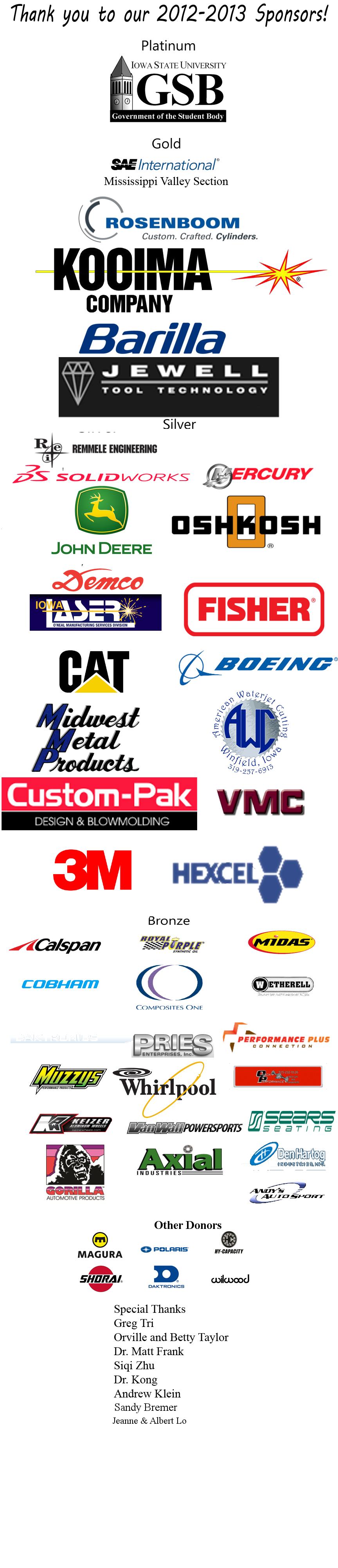 2012-2013 Sponsors